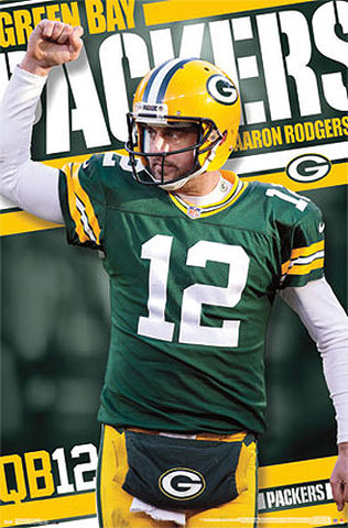 "Aaron Rodgers ""True Leader"" Green Bay Packers Official NFL Football Poster - Costacos 2013"