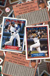 "Alex Rodriguez and Derek Jeter ""Retro Cards"" New York Yankees Poster - Costacos 2004"