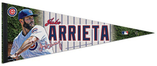 "Jake Arrieta ""Signature Series"" Chicago Cubs Premium Felt Collector's Pennant - Wincraft Inc."