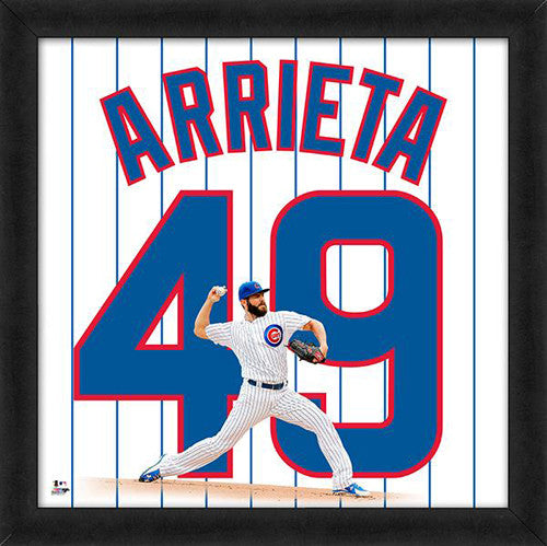 "Jake Arrieta ""Number 49"" Chicago Cubs FRAMED 20x20 UNIFRAME PRINT - Photofile"