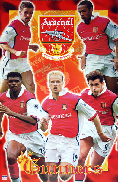 "Arsenal FC ""The Gunners"" EPL Football Poster (Bergkamp, Overmars, Henry, Kanu, Suker) - Starline 1999"
