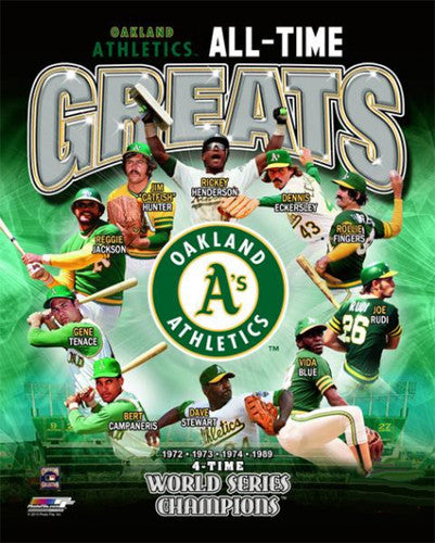 Oakland A's Baseball All-Time Greats (10 Legends, 4-Time Champs) Premium Poster Print - Photofile