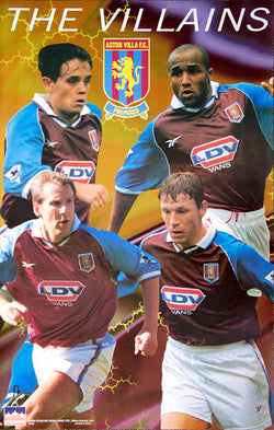 "Aston Villa FC ""The Villains"" EPL Football Soccer Poster (Collymore, Merson, Southgate, Barry) - Starline Inc."