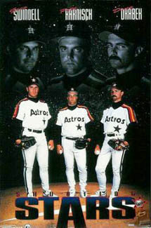 "Houston Astros ""Shooting Stars"" Poster (Swindell, Harnisch, Drabek) - Costacos Brothers 1993"