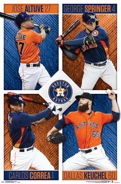 Houston Astros Superstars 2017 POSTER (Jose Altuve, George Springer, Carlos Correa, D.Keuchel)