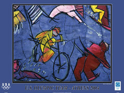 "Cycling Art ""The Cyclist"" by Cristobal Gabarron Poster - Athens Olympics 2004"