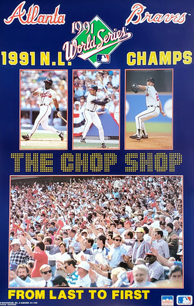 "Atlanta Braves ""The Chop Shop"" 1991 National League Champs Commemorative Poster - Starline Inc. 1991"