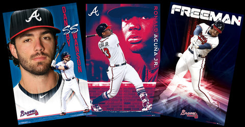 COMBO: Atlanta Braves Baseball 3-Poster Combo Set (Swanson, Acuna, Freeman) - Trends International