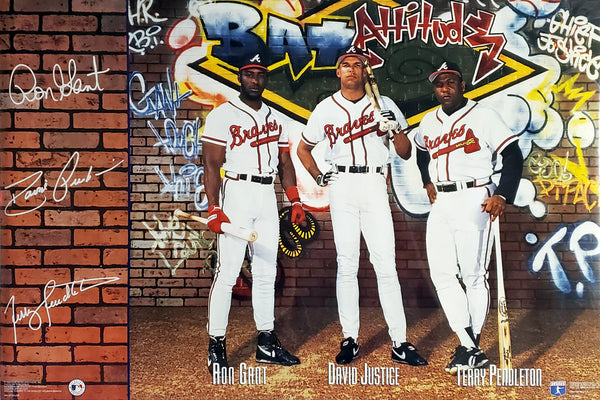 "Atlanta Braves ""Bat Attitude"" Poster (Ron Gant, David Justice, Terry Pendleton) - Costacos Brothers 1993"
