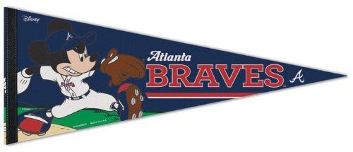 "Atlanta Braves ""Mickey Mouse Flamethrower"" Official MLB/Disney Premium Felt Pennant - Wincraft Inc."