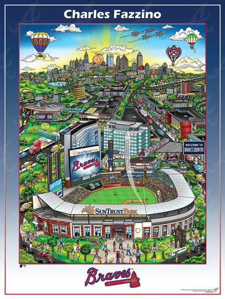 Atlanta Braves SunTrust Park Game Night Commemorative Pop Art Poster by Charles Fazzino