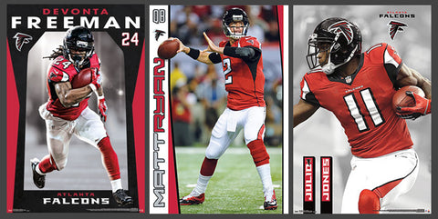 COMBO: Atlanta Falcons Football 3-Poster Combo Set (Ryan, Freeman, Julio Jones)