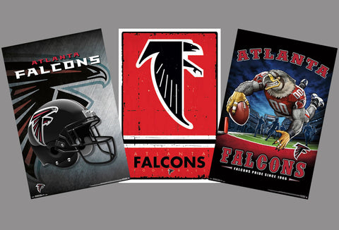 COMBO: Atlanta Falcons NFL Football Logo Theme Art 3-Poster Combo Set - Trends International
