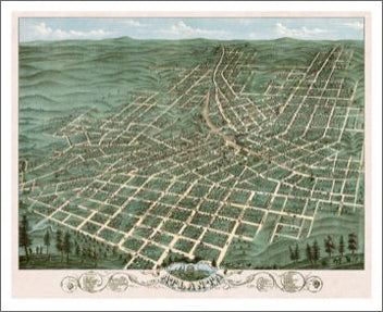 Atlanta, Georgia 1871 Classic Aerial Panoramic Map Premium Poster Reproduction - McGaw Graphics