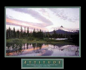 "Mountain Sunset ""Attitude"" Motivational Poster Print - Front Line"