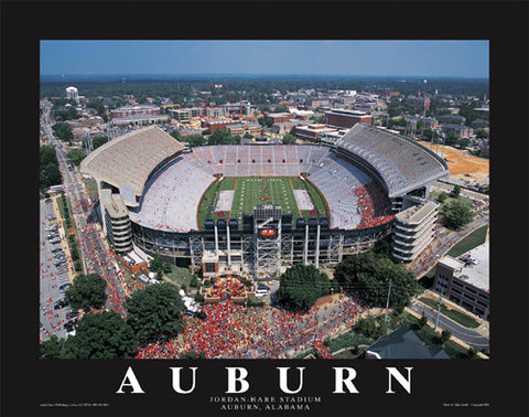 "Auburn Tigers Jordan-Hare Stadium ""From Above"" Premium Poster Print - Aerial Views"