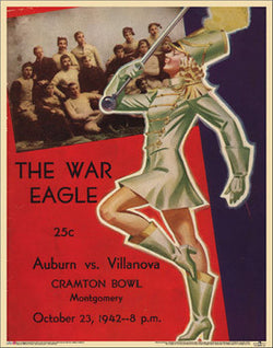 "Auburn Tigers Football ""War Eagle"" 1942 Vintage Poster Print - Asgard Press"