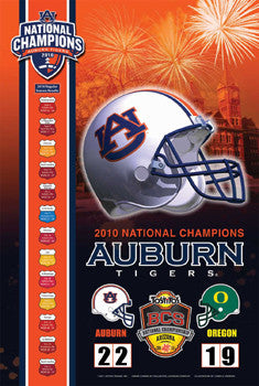Auburn Tigers 2010 NCAA Football National Champions Commemorative Poster - Action Images