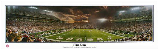 "Auburn Football ""End Zone"" Jordan-Hare Stadium Game Night Panoramic Poster Print - Everlasting"