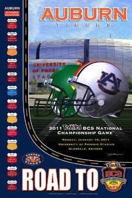 "Auburn Tigers ""Road to the BCS"" NCAA Football Poster - Action Images 2010"