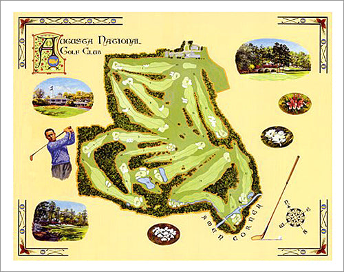 Augusta National Golf Club Classic-Style Course Map and Highlights Poster Print - Bentley House 2003