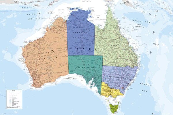 Wall Map of Australia Poster - GB Eye Ltd.