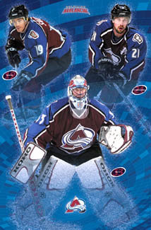 "Colorado Avalanche ""Three Legends"" Poster (Sakic, Forsberg, Roy) - Costacos 2002"