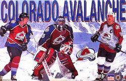 "Colorado Avalanche ""Rocky Mountains"" Poster (Patrick Roy, Peter Forsberg, Joe Sakic) - Starline 1996"