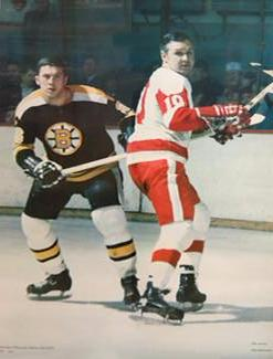 Don Awrey vs. Alex Delvecchio NHL Hockey Vintage Poster - Action Sport Photos 1971