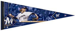 "John Axford ""Signature"" Milwaukee Brewers Premium Felt Collector's Pennant (LE /2012)"