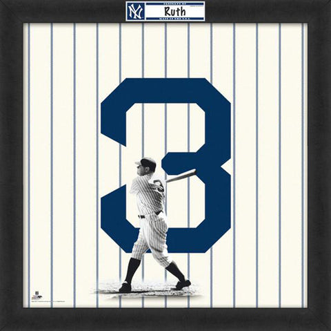 "Babe Ruth ""Number 3"" New York Yankees MLB FRAMED 20x20 UNIFRAME PRINT - Photofile"