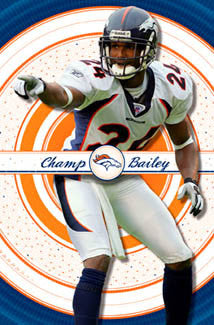 "Champ Bailey ""Field General"" Denver Broncos NFL Action Poster - Costacos 2005"
