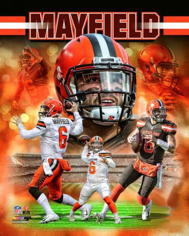 "Baker Mayfield ""Power Profile"" Cleveland Browns Premium Action Collage NFL Poster Print - Photofile 16x20"