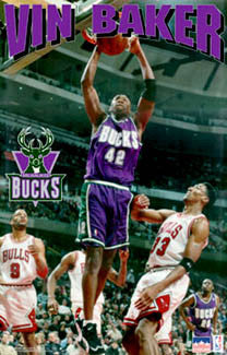 "Vin Baker ""Prime"" Milwaukee Bucks NBA Action Poster - Starline 1996"