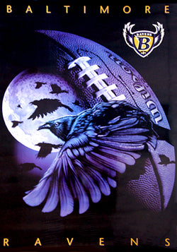 "Baltimore Ravens ""Night Attack"" Official Pro Player NFL Team Theme Art Poster - Costacos 1997"