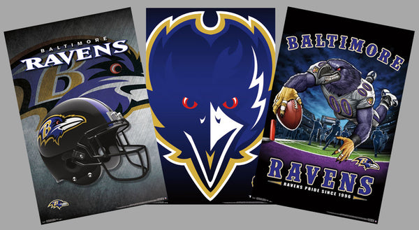 COMBO: Baltimore Ravens NFL Football Logo Theme Art 3-Poster Combo Set - Trends International
