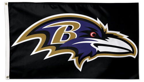 Baltimore Ravens Official NFL Football Team Logo-on-Black DELUXE 3'x5' FLAG - Wincraft