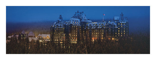 "Banff Springs Hotel ""Winter Sunset"" Alberta, Canada Panoramic Poster Print - Canadian Art Prints"