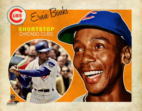 "Ernie Banks ""Retro SuperCard"" Chicago Cubs Premium Poster Print - Photofile 16x20"