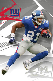 "Tiki Barber ""Cutback"" New York Giants NFL Action Poster - Costacos 2005"