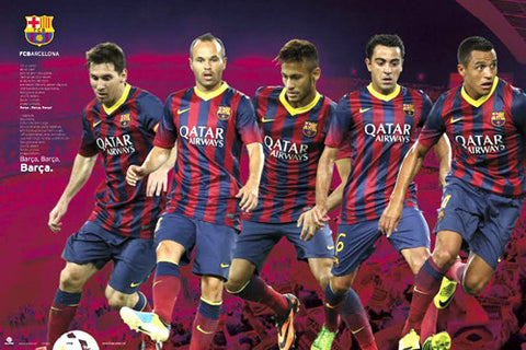 "FC Barcelona ""Cant del Barca"" Official 5-Player Soccer Action Poster - GPE (Spain)"