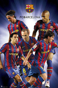 "FC Barcelona ""Super Cinco"" (2010) Official La Liga Soccer Poster - G.E. (Spain)"