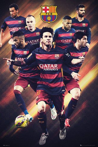"FC Barcelona ""Super Seven"" Official Soccer Poster (Messi, Neymar, Suarez, Busquets, ++) - GB Eye"