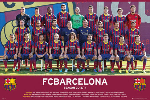 FC Barcelona 2013/14 Official Team Portrait Soccer Poster - GB Eye (UK)