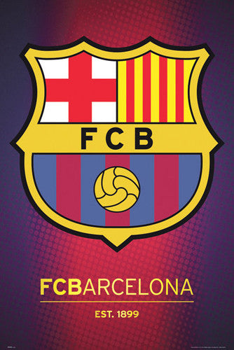 FC Barcelona Official La Liga Football Soccer Team Crest Theme Art Poster - GB Eye Inc.