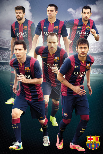 "FC Barcelona ""Six Stars"" (2014/15) Official La Liga Soccer Poster - GB Eye"