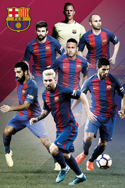 FC Barcelona 7-Players In Action Official La Liga Soccer Football Poster - GB Eye 2016/17