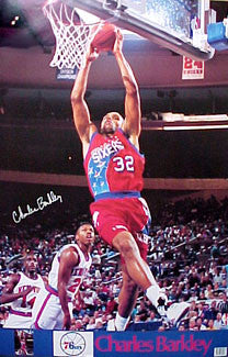 "Charles Barkley ""Philly Slam"" Vintage Philadelphia 76ers Poster - Marketcom 1990"