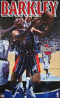 "Charles Barkley ""Inside Game"" Houston Rockets Poster - Starline 1997"