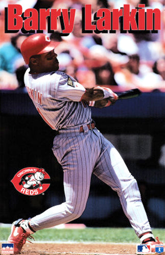 "Barry Larkin ""Action"" Cincinnati Reds Poster - Starline 1995"